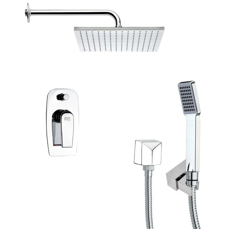 REMER SFH6100 ORSINO SQUARE CHROME SHOWER FAUCET SET WITH HANDHELD SHOWER