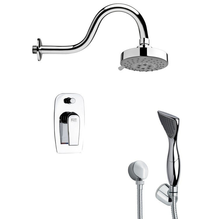 REMER SFH6108 ORSINO MODERN SLEEK SHOWER FAUCET SET WITH HANDHELD SHOWER IN CHROME