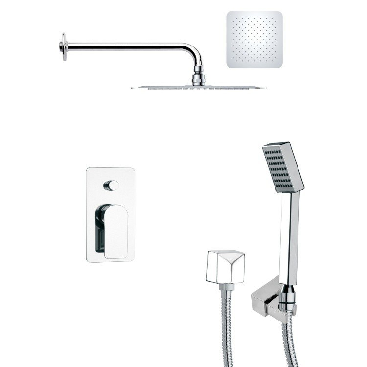 REMER SFH6118 ORSINO SQUARE SHOWER FAUCET WITH HANDHELD SHOWER IN CHROME