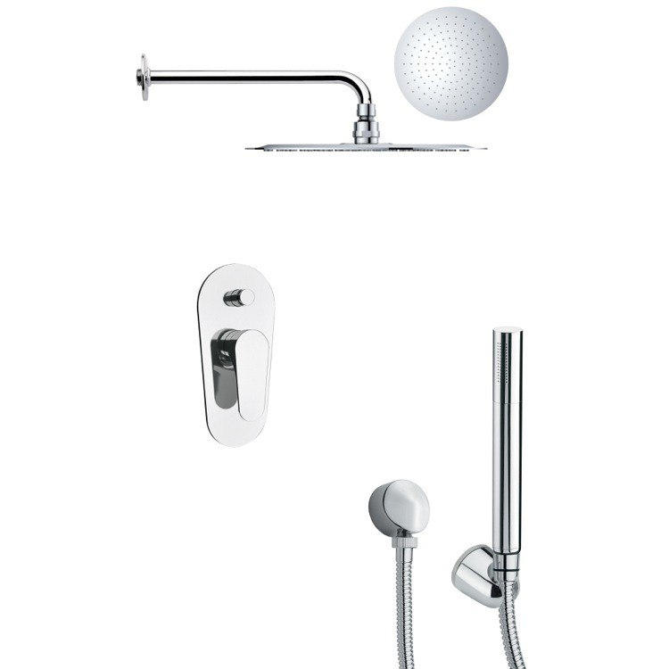 REMER SFH6124 ORSINO ROUND CONTEMPORARY SHOWER FAUCET WITH HANDHELD SHOWER IN CHROME