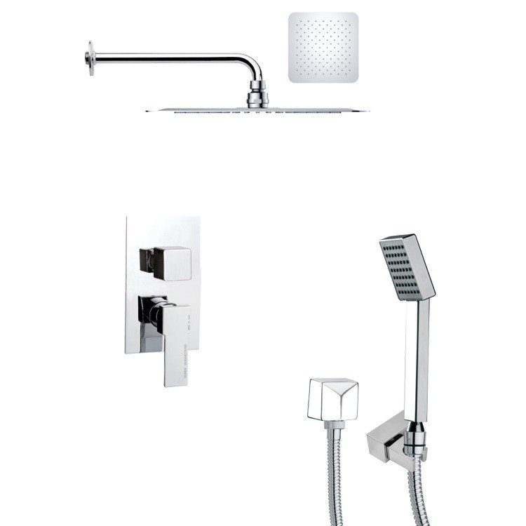REMER SFH6126 ORSINO MODERN SQUARE POLISHED CHROME SHOWER SYSTEM