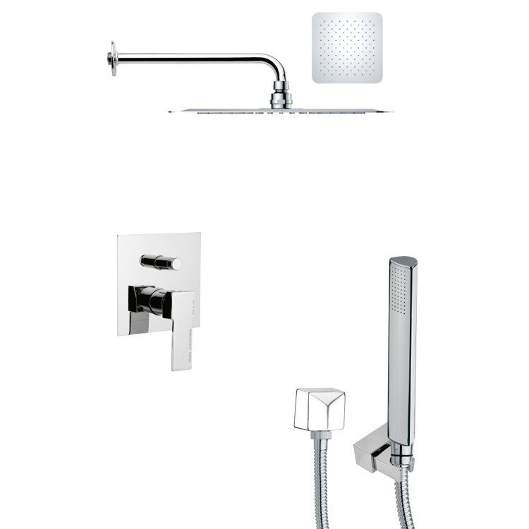 REMER SFH6128 ORSINO SQUARE CONTEMPORARY CHROME SHOWER SYSTEM