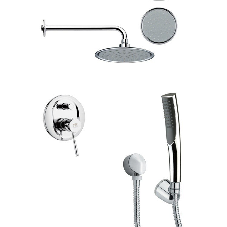 REMER SFH6139 ORSINO SLEEK ROUND CHROME SHOWER FAUCET WITH HANDHELD SHOWER