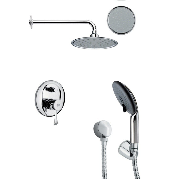 REMER SFH6140 ORSINO SLEEK ROUND CHROME SHOWER FAUCET SET WITH HAND SHOWER