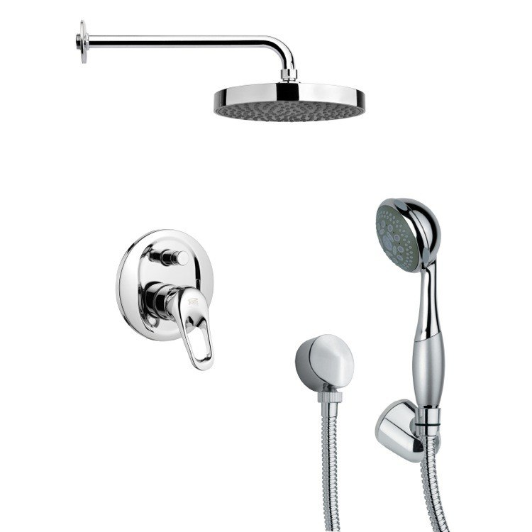 REMER SFH6147 ORSINO POLISHED CHROME ROUND SHOWER FAUCET SET WITH HAND SHOWER