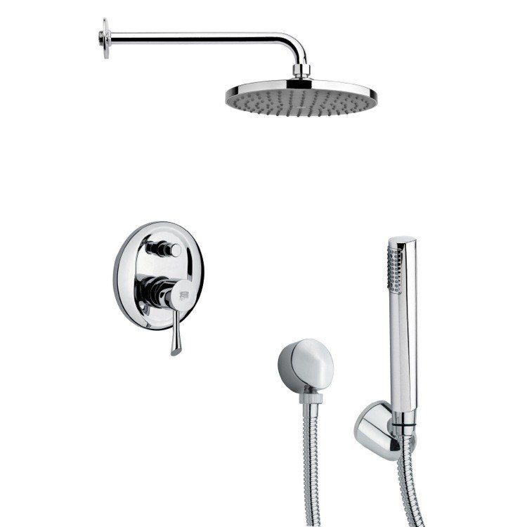 REMER SFH6151 ORSINO CHROME ROUND SHOWER FAUCET SET WITH HANDHELD SHOWER