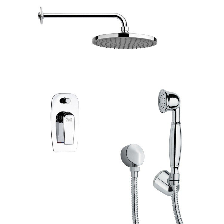 REMER SFH6152 ORSINO ROUND MODERN CHROME SHOWER FAUCET SET WITH HANDHELD SHOWER