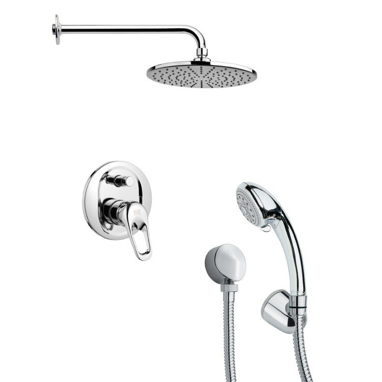 REMER SFH6154 ORSINO ROUND CONTEMPORARY SHOWER FAUCET SET WITH HANDHELD SHOWER IN CHROME
