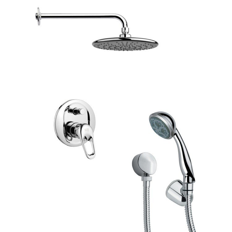 REMER SFH6160 ORSINO POLISHED CHROME SLEEK SHOWER FAUCET SET WITH HANDHELD SHOWER