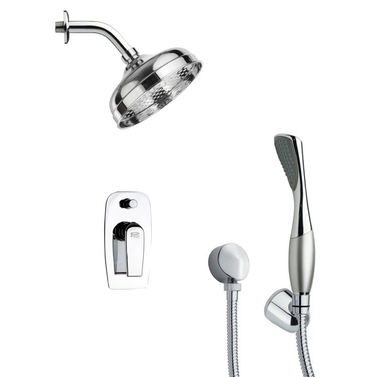 REMER SFH6186 ORSINO MODERN POLISHED CHROME SHOWER FAUCET SET WITH HAND SHOWER