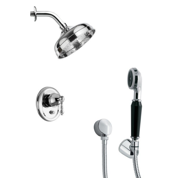 REMER SFH6187 ORSINO CONTEMPORARY POLISHED CHROME SHOWER FAUCET SET WITH HANDHELD SHOWER