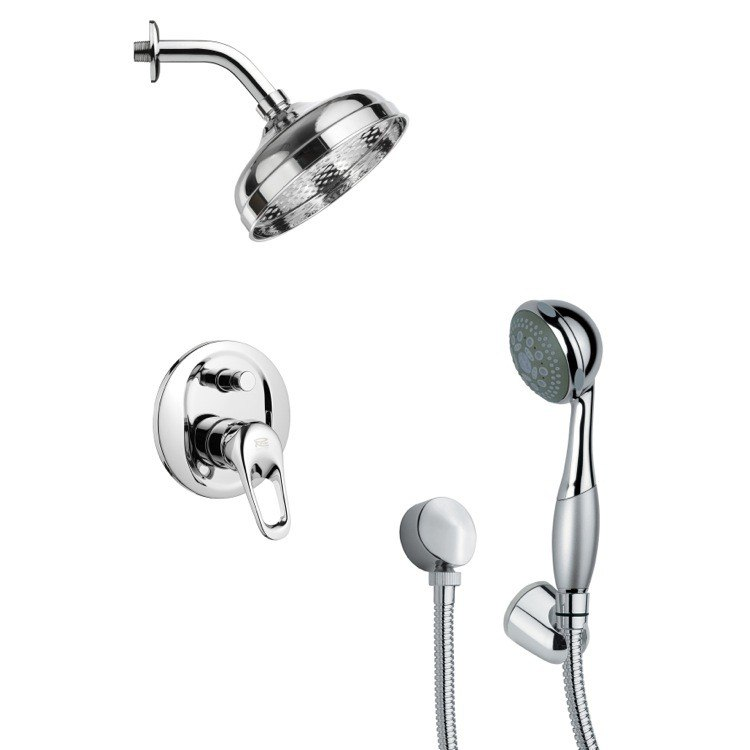 REMER SFH6188 ORSINO CONTEMPORARY POLISHED CHROME SHOWER FAUCET SET WITH HAND SHOWER