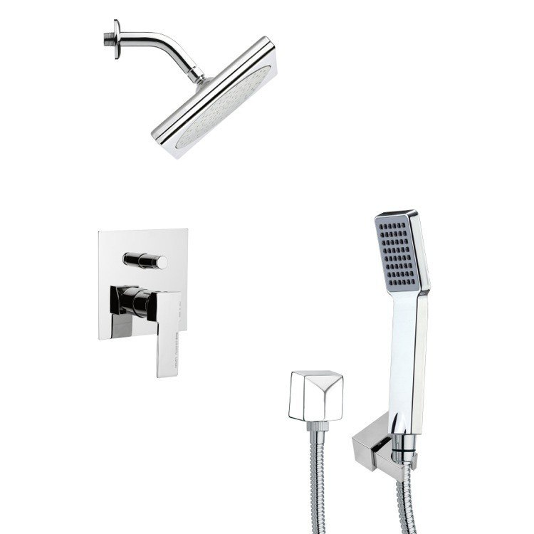 REMER SFH6194 ORSINO SQUARE MODERN SHOWER FAUCET WITH HAND SHOWER IN CHROME