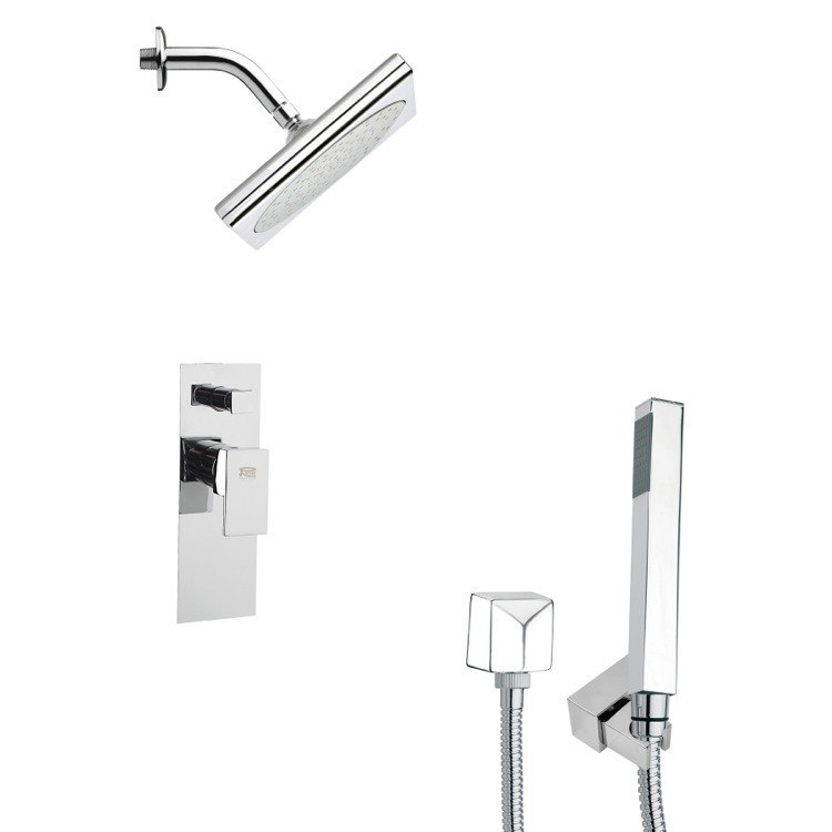 REMER SFH6195 ORSINO SQUARE MODERN SHOWER FAUCET SET WITH HANDHELD SHOWER IN CHROME