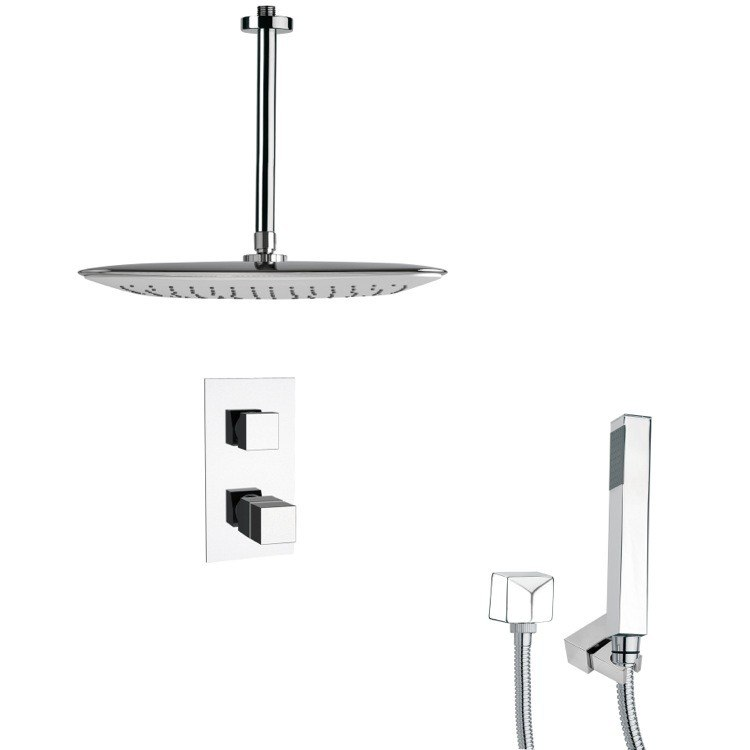 REMER SFH6400 ORSINO THERMOSTATIC POLISHED CHROME SHOWER FAUCET WITH HANDHELD SHOWER