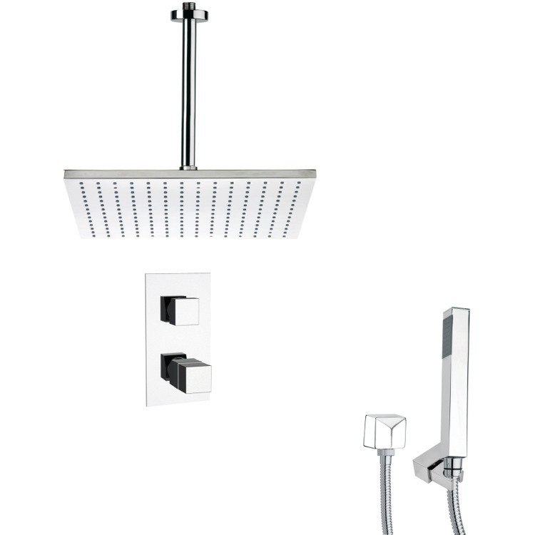 REMER SFH6401 ORSINO THERMOSTATIC POLISHED CHROME SHOWER FAUCET WITH HANDHELD SHOWER