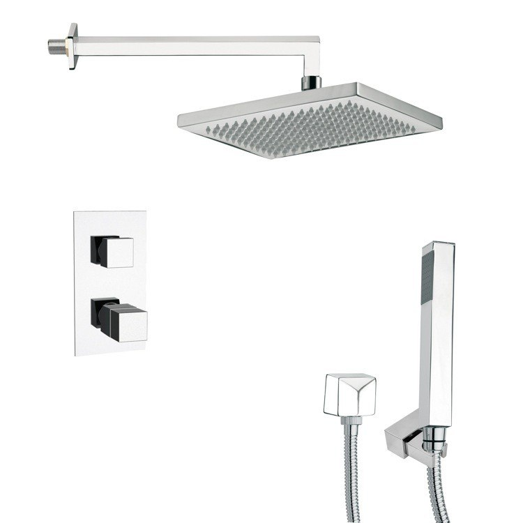 REMER SFH6402 ORSINO THERMOSTATIC POLISHED CHROME SHOWER FAUCET WITH HANDHELD SHOWER