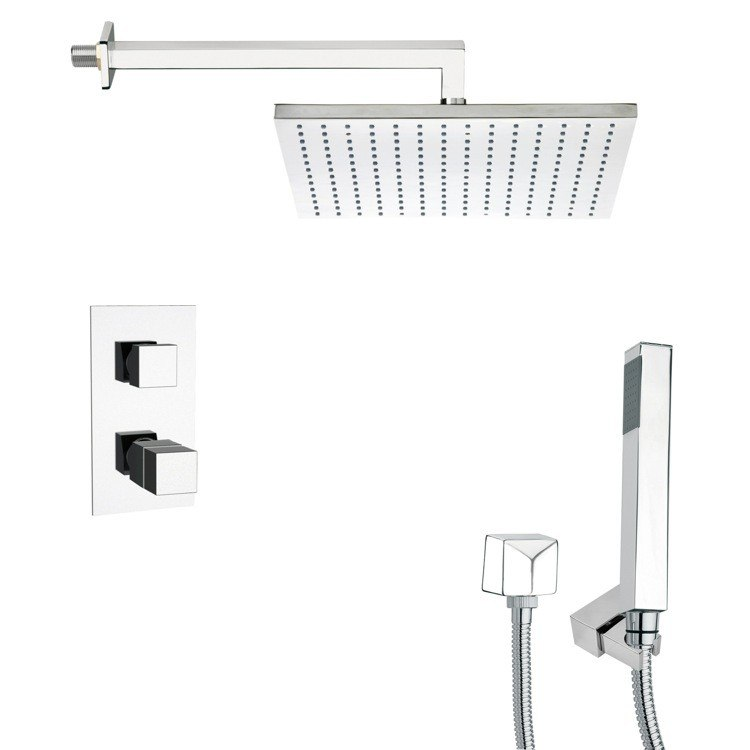 REMER SFH6403 ORSINO THERMOSTATIC POLISHED CHROME SHOWER FAUCET WITH HANDHELD SHOWER