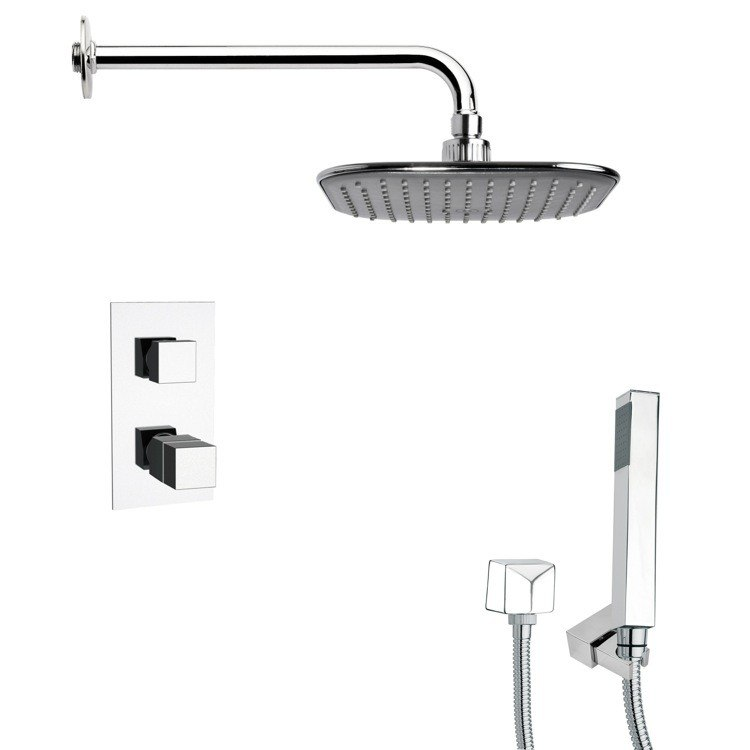 REMER SFH6404 ORSINO THERMOSTATIC SQUARE POLISHED CHROME SHOWER FAUCET WITH HANDHELD SHOWER
