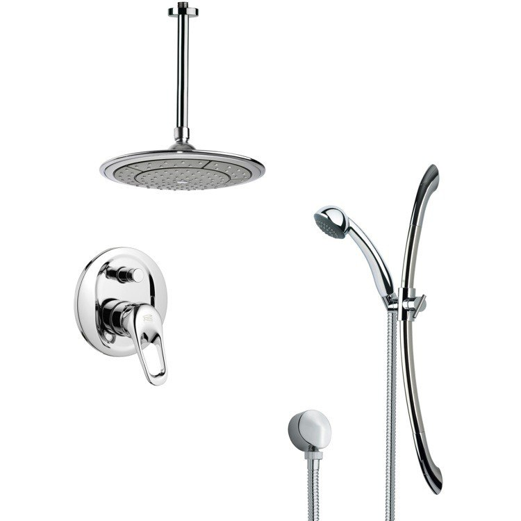 REMER SFR7000 RENDINO SLEEK ROUND RAIN SHOWER FAUCET SET IN CHROME