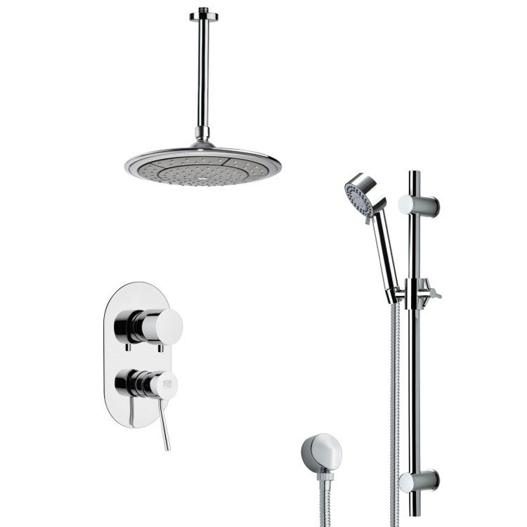 REMER SFR7002 RENDINO SLEEK ROUND RAIN SHOWER FAUCET SET IN CHROME