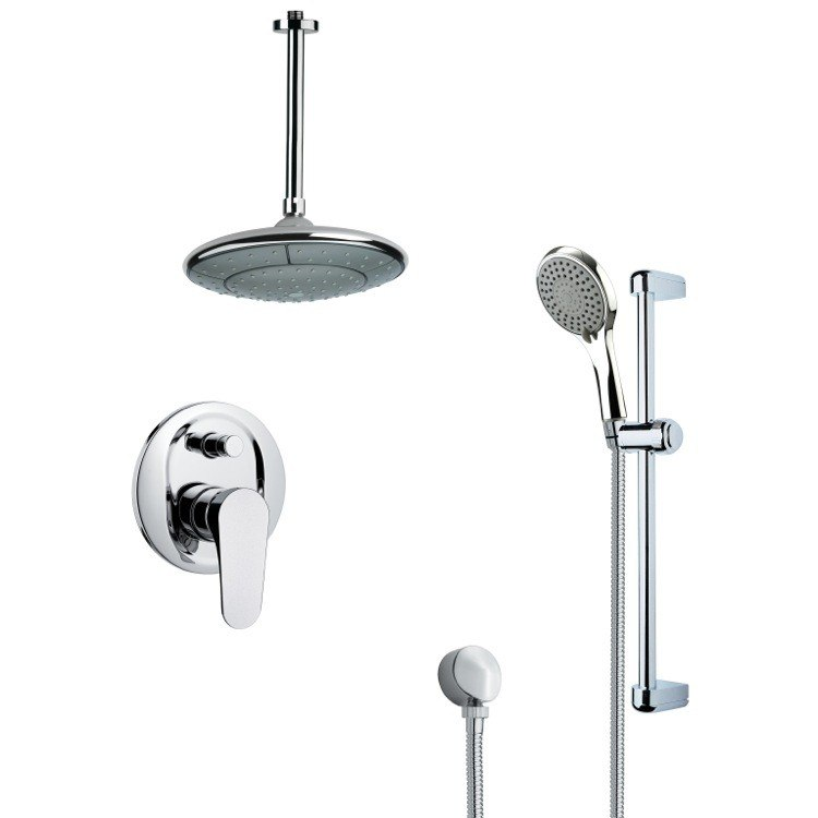 REMER SFR7007 RENDINO SLEEK ROUND RAIN SHOWER FAUCET WITH SLIDE RAIL IN CHROME