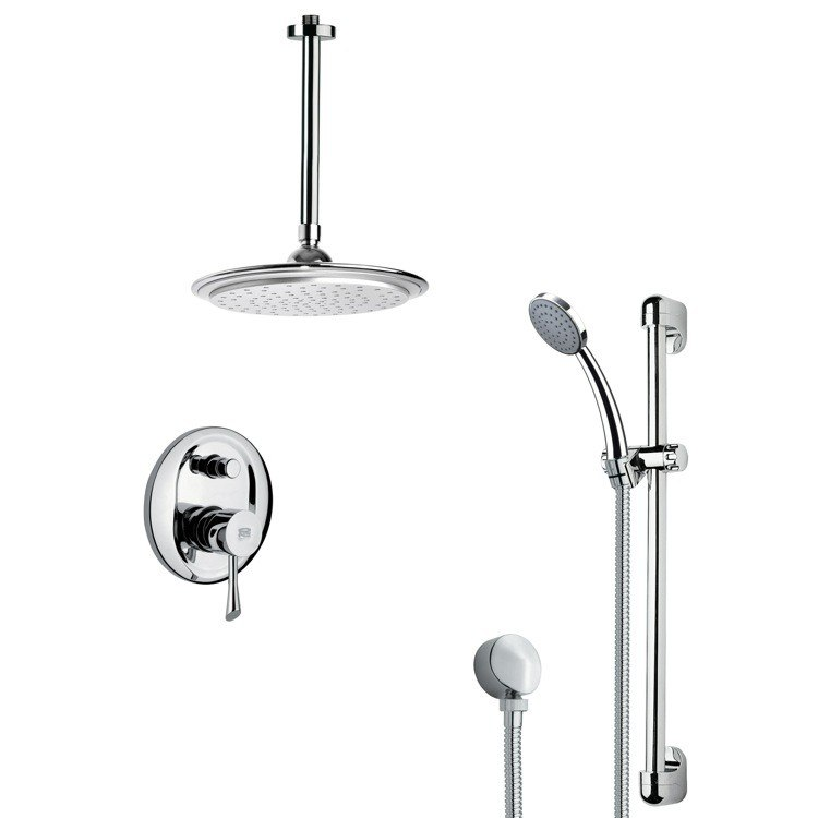 REMER SFR7008 RENDINO SLEEK ROUND RAIN SHOWER FAUCET WITH SLIDE RAIL IN CHROME