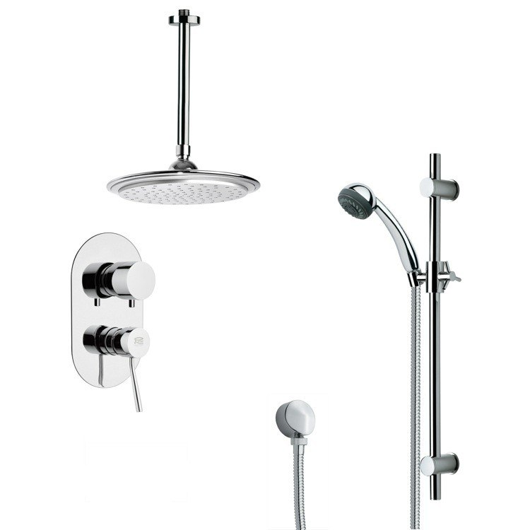 REMER SFR7010 RENDINO SLEEK ROUND RAIN SHOWER FAUCET WITH SLIDE RAIL IN CHROME