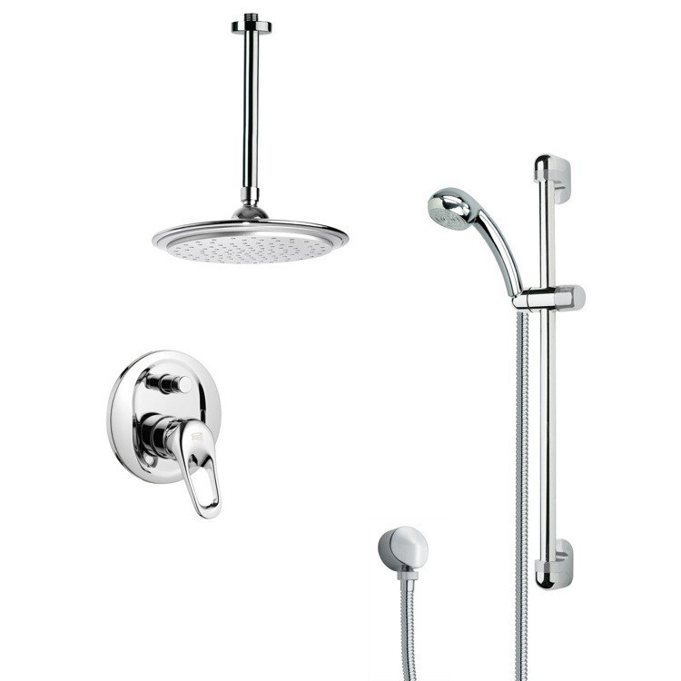 REMER SFR7011 RENDINO SLEEK ROUND RAIN SHOWER FAUCET WITH SLIDE RAIL IN CHROME