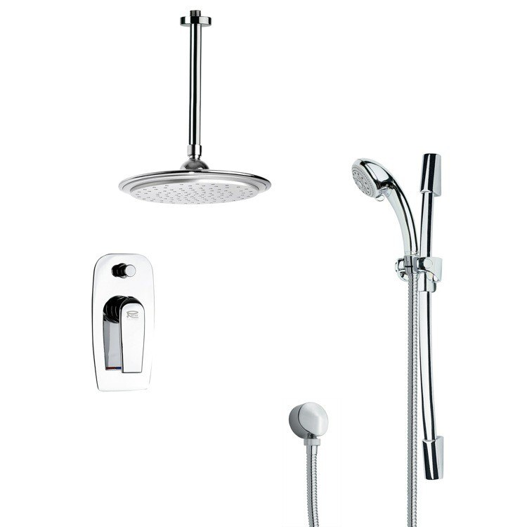 REMER SFR7012 RENDINO SLEEK ROUND RAIN SHOWER FAUCET WITH SLIDE RAIL IN CHROME