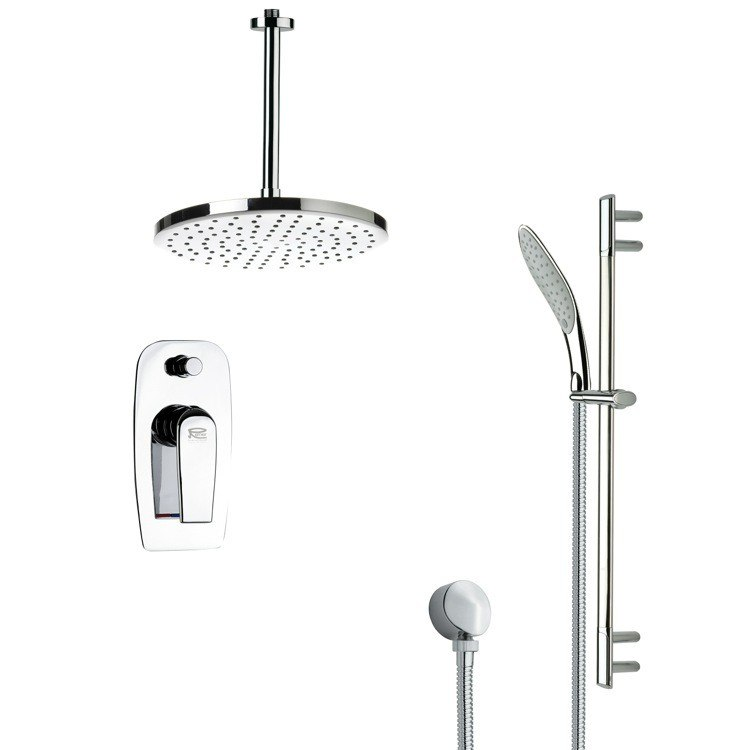 REMER SFR7015 RENDINO SLEEK ROUND RAIN SHOWER FAUCET WITH HANDHELD SHOWER IN CHROME