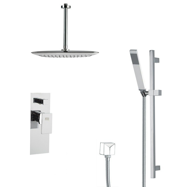 REMER SFR7018 RENDINO SLEEK SQUARE SHOWER FAUCET SET IN CHROME