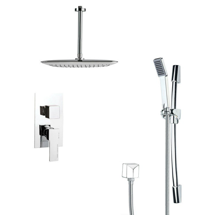 REMER SFR7019 RENDINO SLEEK SQUARE SHOWER FAUCET SET IN CHROME
