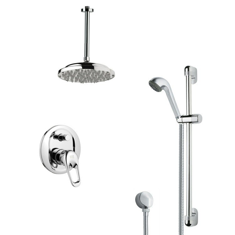REMER SFR7023 RENDINO MODERN CHROME ROUND RAIN SHOWER FAUCET SET