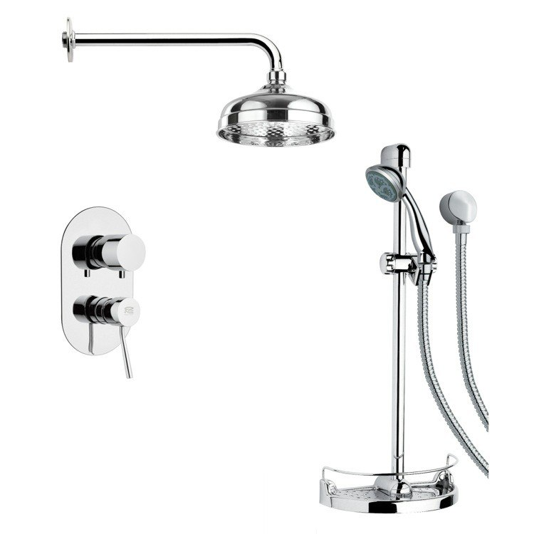 REMER SFR7026 RENDINO MODERN CHROME ROUND RAIN SHOWER FAUCET SET