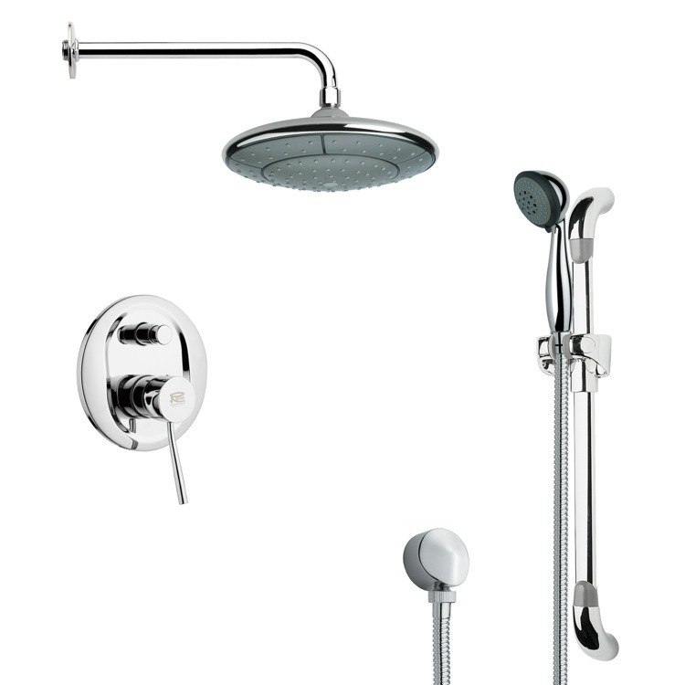 REMER SFR7030 RENDINO MODERN CHROME ROUND RAIN SHOWER FAUCET WITH SLIDE RAIL