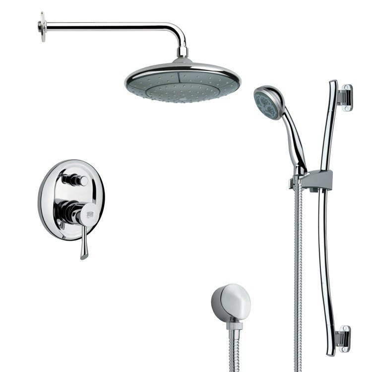 REMER SFR7031 RENDINO MODERN CHROME ROUND RAIN SHOWER FAUCET WITH SLIDE RAIL