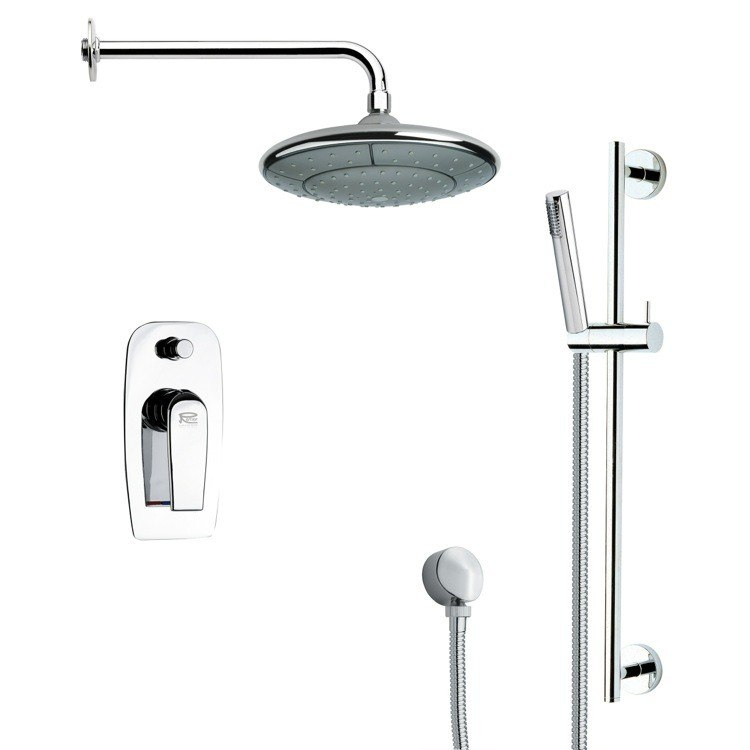REMER SFR7032 RENDINO MODERN CHROME ROUND RAIN SHOWER FAUCET WITH SLIDE RAIL