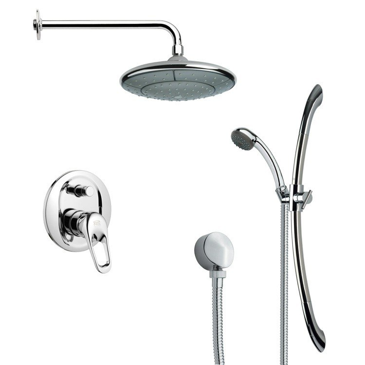 REMER SFR7033 RENDINO MODERN CHROME ROUND RAIN SHOWER FAUCET WITH SLIDE RAIL