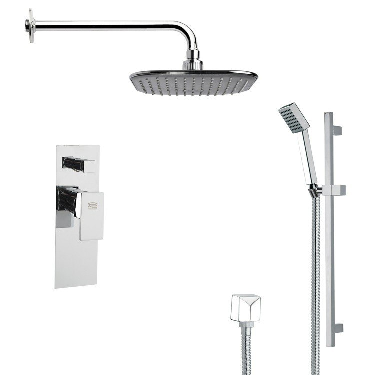 REMER SFR7034 RENDINO MODERN SQUARE CHROME RAIN SHOWER FAUCET SET