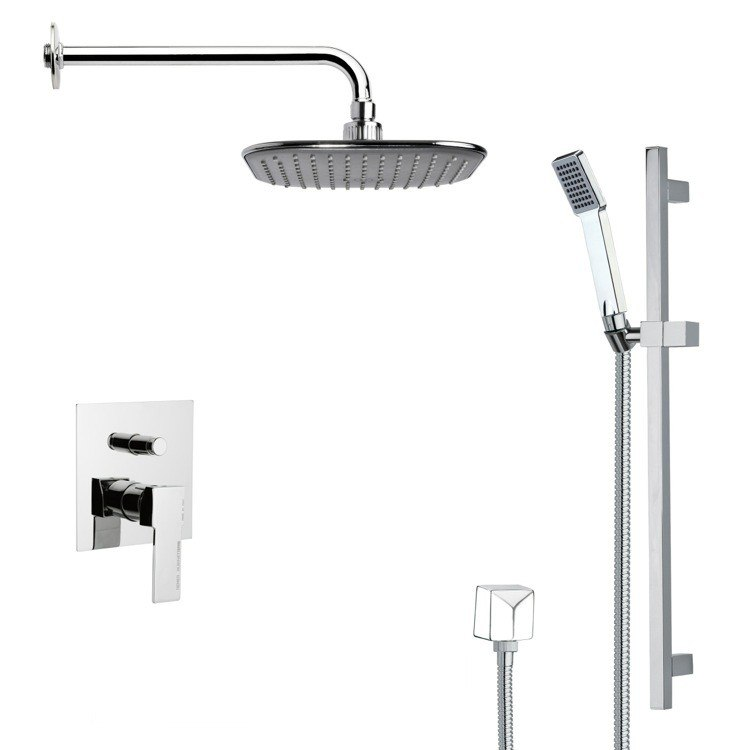 REMER SFR7036 RENDINO MODERN SQUARE CHROME RAIN SHOWER FAUCET SET