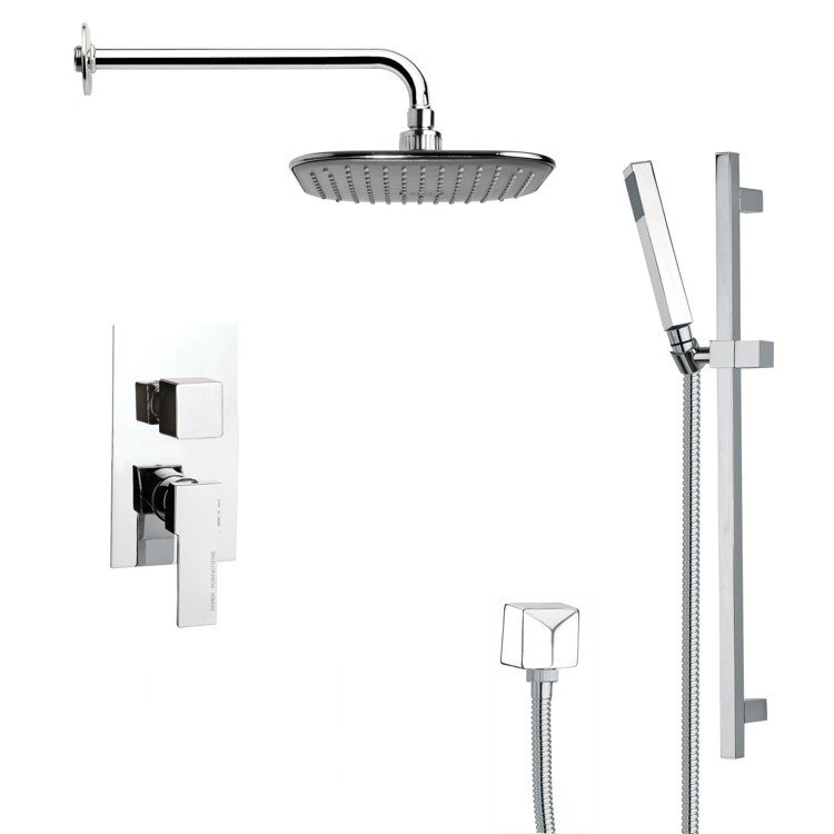 REMER SFR7037 RENDINO MODERN SQUARE RAIN SHOWER FAUCET SET IN CHROME