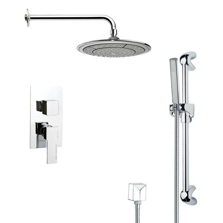 REMER SFR7038 RENDINO MODERN CHROME ROUND RAIN SHOWER FAUCET WITH HAND SHOWER