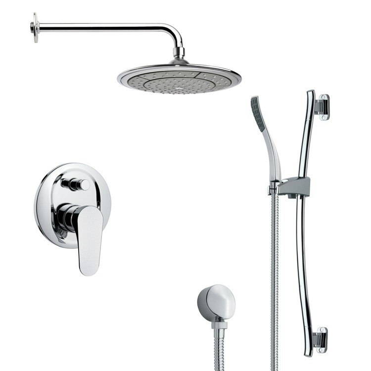 REMER SFR7040 RENDINO MODERN CHROME ROUND RAIN SHOWER FAUCET WITH HAND SHOWER