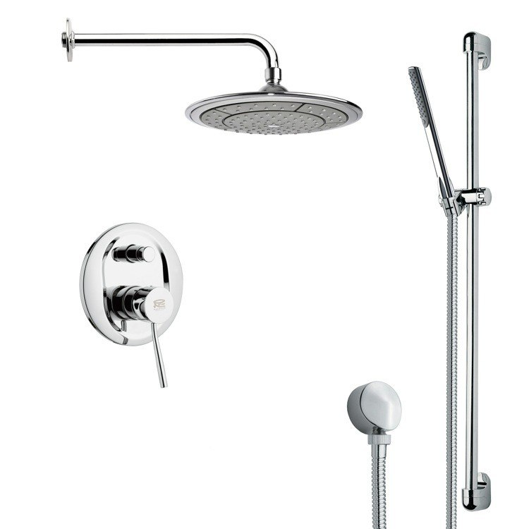 REMER SFR7041 RENDINO MODERN CHROME ROUND RAIN SHOWER FAUCET WITH HAND SHOWER