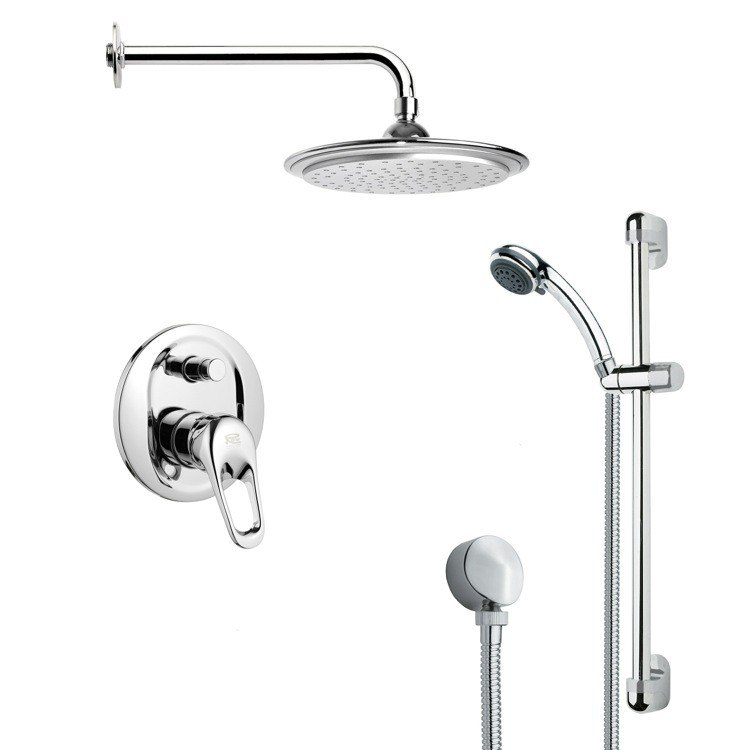 REMER SFR7044 RENDINO MODERN CHROME ROUND RAIN SHOWER FAUCET WITH HAND SHOWER