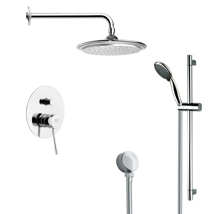 REMER SFR7045 RENDINO MODERN CHROME ROUND RAIN SHOWER FAUCET WITH HAND SHOWER