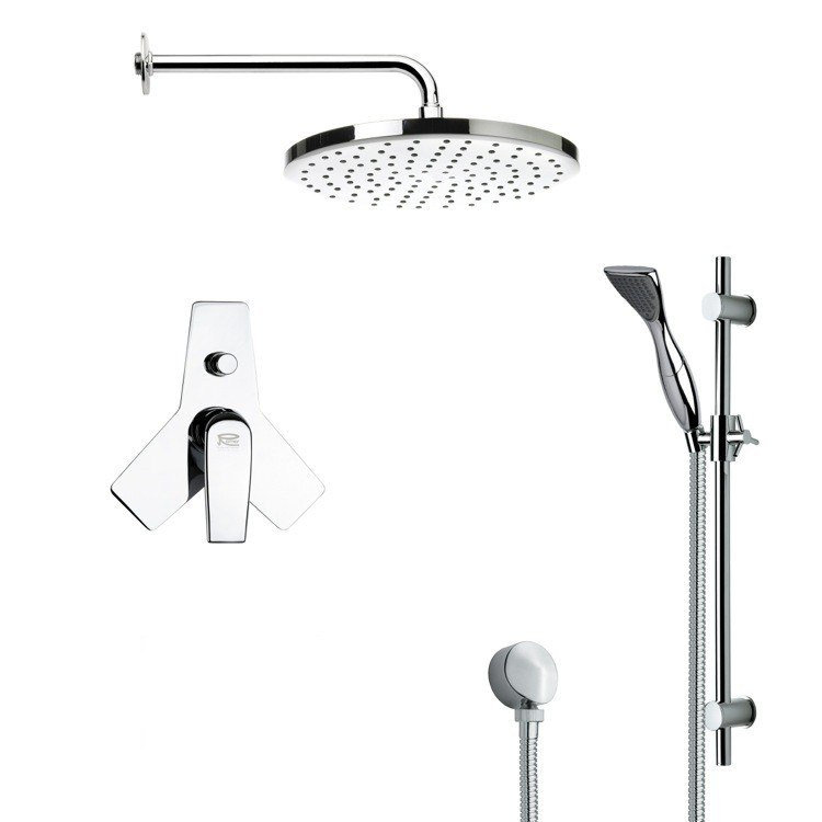 REMER SFR7047 RENDINO ROUND POLISHED CHROME SHOWER FAUCET SET