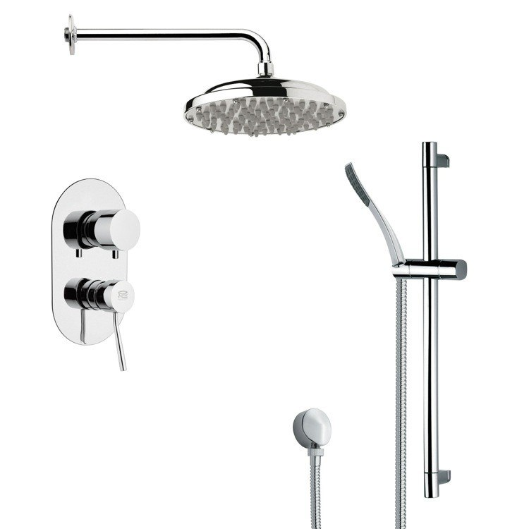 REMER SFR7051 RENDINO ROUND POLISHED CHROME RAIN SHOWER FAUCET SET