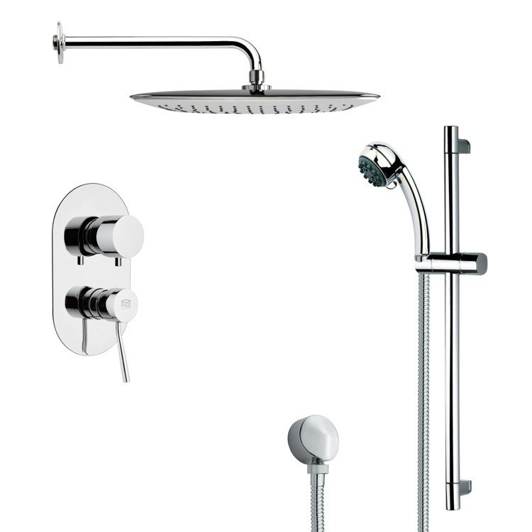REMER SFR7054 RENDINO MODERN SQUARE CHROME SHOWER FAUCET WITH SLIDE RAIL
